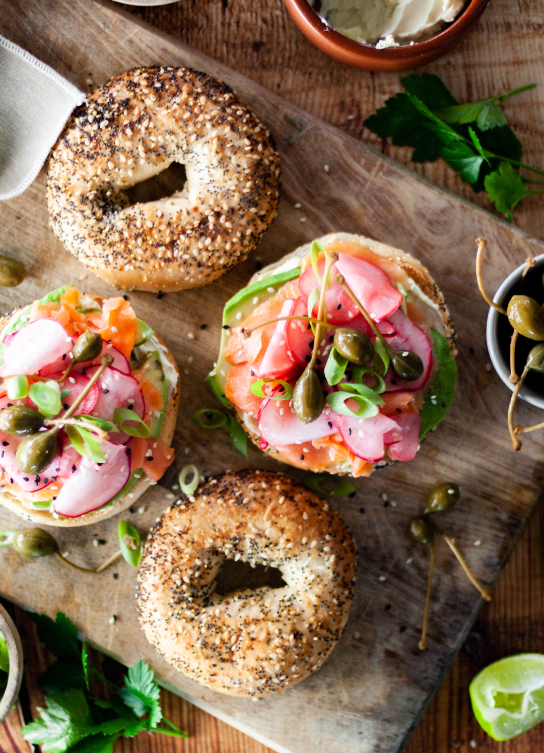 Bagel with smoked trout and wasabi cream cheese